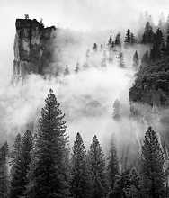 Cliffs and fog near Yosemite, 1982