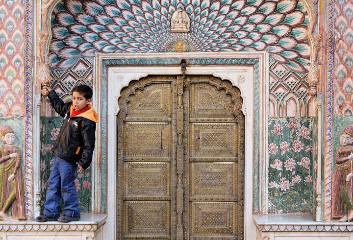 Boy, City Palace gate