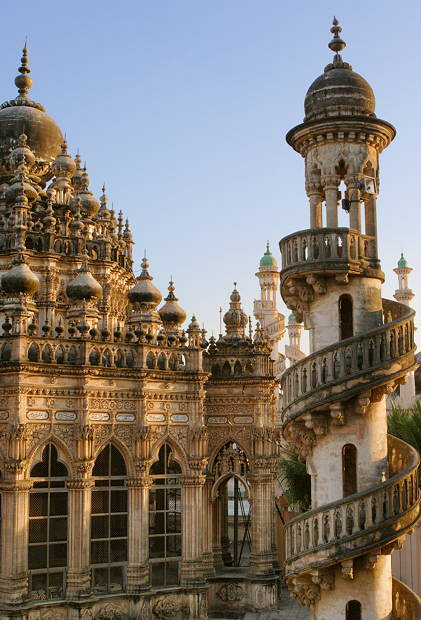 Junagadh India  City pictures : Jain temple on the way up Girnar Hill. Junagadh in the background.